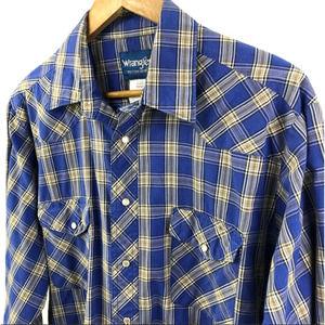 Wrangler Plaid Pearl Snap Button Up Shirt Blue Lrg